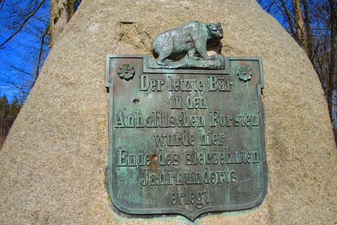Bärendenkmal Ramberg Harzer Wandernadel Nr. 184
