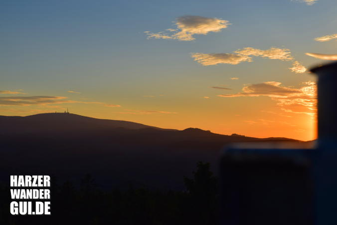 Brocken vom Kaiserturm WR bei Sonnenuntergang